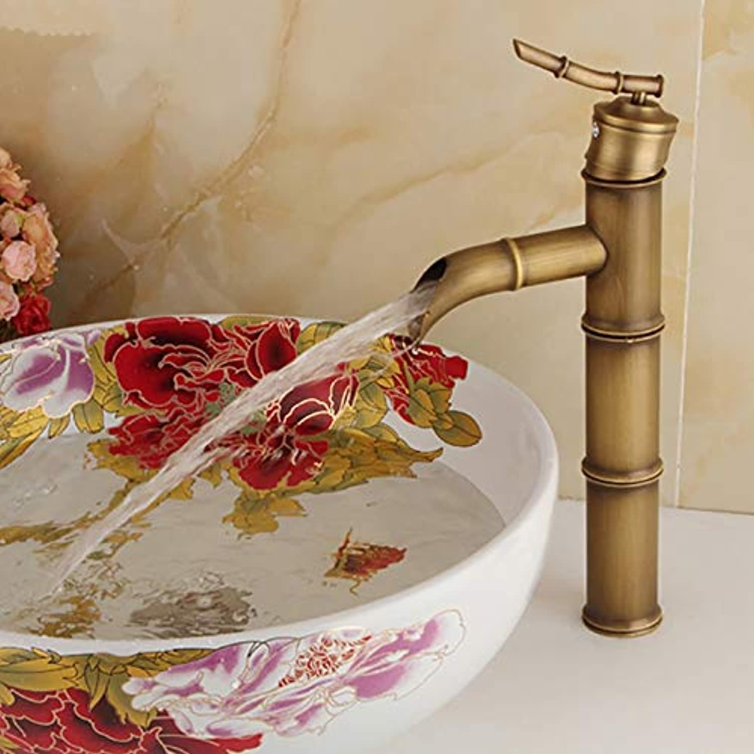 Decorry Antique Bamboo Tall Bathroom Faucet Single Handle Bamboo Water Tap Antique Bronze Finish Brass Basin Sink Tall Basin Faucet