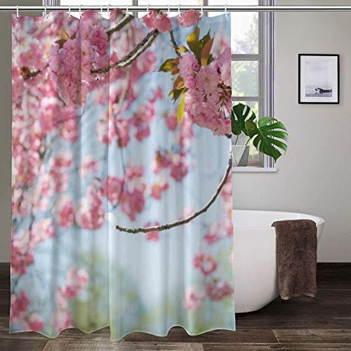 XCBN Fleur Printemps Paysage Rideau de Douche Fleur Rose Rouge rétro Design Jardin décoration Murale Rideau de Douche étanche A2 150x200 cm