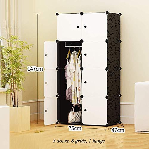 ZLMI Simple Armoire Simple Moderne Assemblée Petite Armoire Chambre en Plastique Combinaison Rangement casier,75 * 47 * 147CM