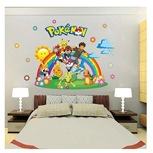 Pokemon Go Wandaufkleber für Kinderzimmer Einrichtungsgegenstände Pikachu Wandtattoo Poster Wandkunst Tapete Kids 60x90cm