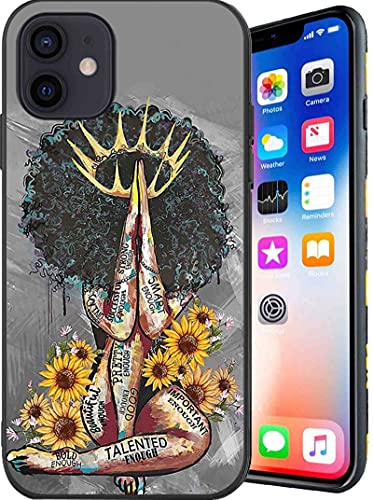 Compatible with iPhone 12/12 Pro Case,Black Queen with Sunflowers Pattern for Women Girls Case,Soft TPU Shockproof Full Body Protection Case for iPhone 12/12 Pro 6.1 Inch