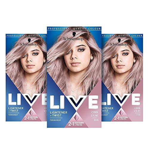 Schwarzkopf Live Lightener + Twist Pink Hair Dye, 3-Pack Permanent Colour with 2-in-1 Lightening,...