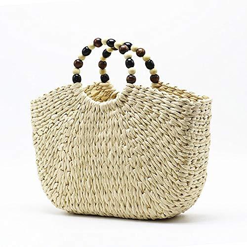 Mubolin Bolso de hombro tejido paja grande playa tejido hecho a mano de las mujeres