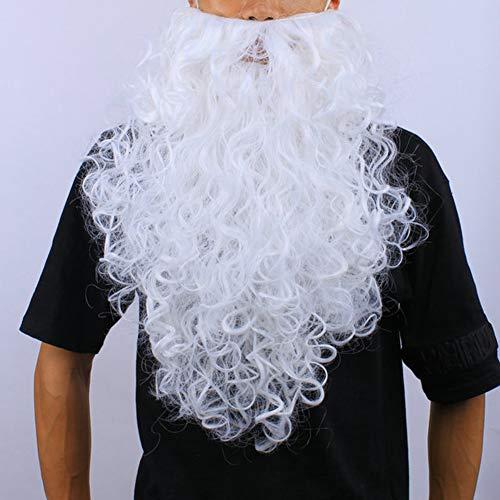 WNTHBJ Weihnachtsmann verkleiden, Santa Beard, Übergröße Weißbart, Weiß Rolled Bart Tanzshow (3 PCS)