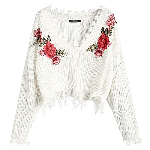 ZAFUL Women's Loose Long Sleeve V-Neck Ripped Pullover Knit Sweater Crop Top (Floral White)