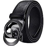 WilliamPOLO Leather Belt for Men, Ratchet Dress Belt for Men with Elegant Gift Box (Black04, 34'-36' Waist Adjustable)