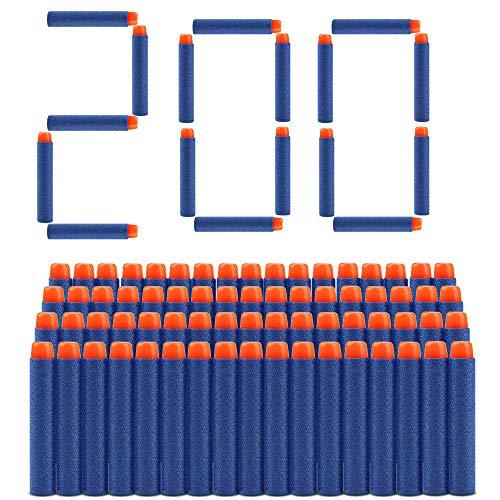welltop 200 Pezzi Refill Bullet Foam Freccette Munizioni per Nerf N-Strike Elite Series Blasters Giocattolo per Bambini (Blu)