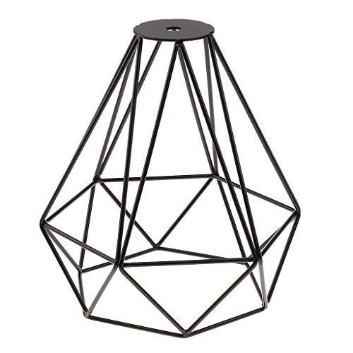 Cage en Métal Forme de Diamant Abat-Jour de Lampe de Plafond Vintage Pendentif Loft Décor - Noir
