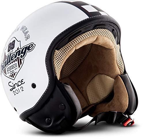 Soxon SP-301 Moto Casco Demi-Jet, ECE Certificato, Compresi Sacchetto Portacasco, Multicolore, S (55-56cm)