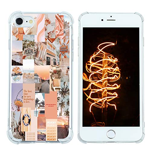 Case for iPhone 7/8/SE 2020, Vintage Vibe Collage Aesthetic Retro The Best Time Slim Case TPU Bumper Shockproof Protective Cover Case for Women Girls Support Wireless Charging