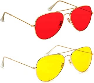 GreatDio Red And Yellow Aviator Metal Body Frame Sunglasses for Men Women (Red/Yellow)