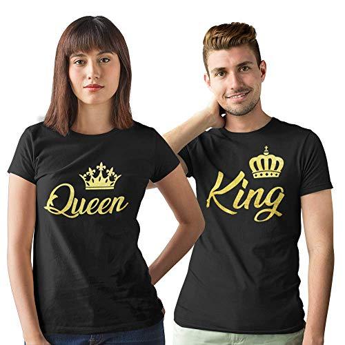 Pack de 2 Camisetas Negras para Parejas King y Queen Corona Dorado