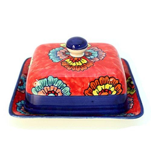 Gall&Zick Butterdose mit Deckel Keramik Bunt Handbemalt (Palma Blau)