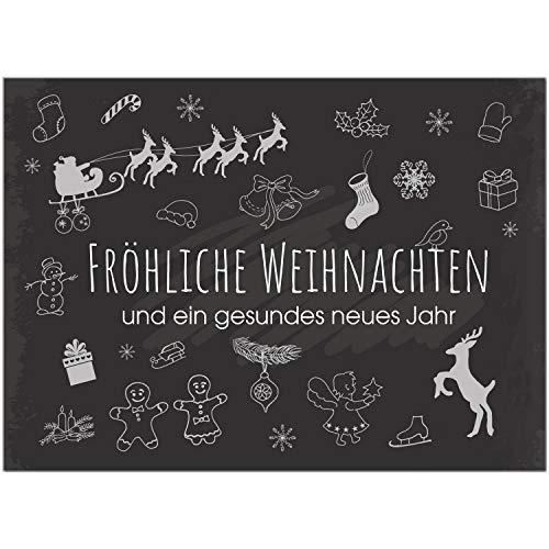 15 x moderne Weihnachtskarten mit Umschlag, Motiv Tafel Kreide Look (schwarz, modern, Typo) im Postkarten Format/Weihnachten/Weihnachtspostkarte