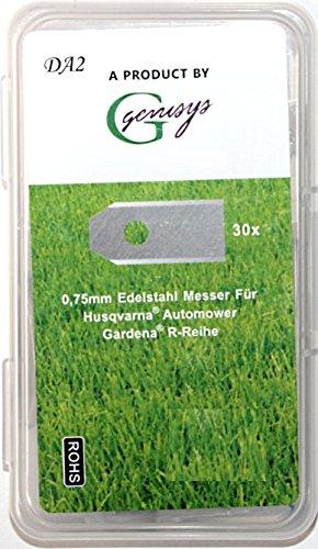 Genisys 30x Ersatz Messer Klingen kompatibel für Husqvarna Automower ® / Gardena Mähroboter (longlife - 0,75 mm - 3 g) + 30x ELOXIERTE Schrauben in der NEUEN wiederverschließbaren Hard-Box