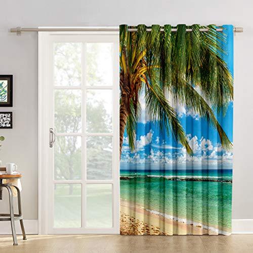 "Futuregrace Blackout Curtains Tropical Ocean Beach Coconut Palm Tree Blue Skyline Livingroom Bedroom Darkening Window Draperies & Curtains for Sliding Glass Door Home Office Decor 52"" W by 45"" L"