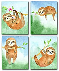 sloth wall art - set of four