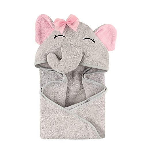 Hudson Baby Unisex Baby Cotton Animal Face Hooded Towel, Pretty Elephant, One Size