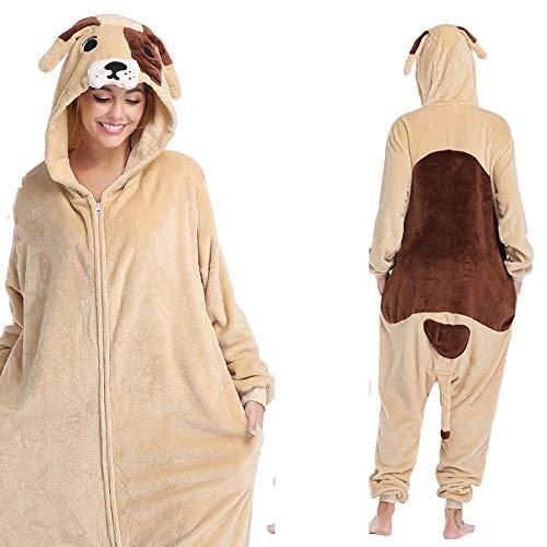M & A Schlafanzug Lustige Mops Hund Onesies Frauen Pyjamas Männer Tier Onesie Für Erwachsene Cartoon Cosplay Kostüm Einteilige Pijamas Bodys-Mops_XL