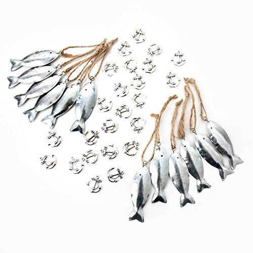 Set van 36 maritieme decoratie: 12 zilverkleurige vishangers met snoer om op te hangen + 24 mini-anker: tafelsieraden, communie, bruiloft, symbolen, sierstrooidecoratie, strooidecoratie, hangertje give-away