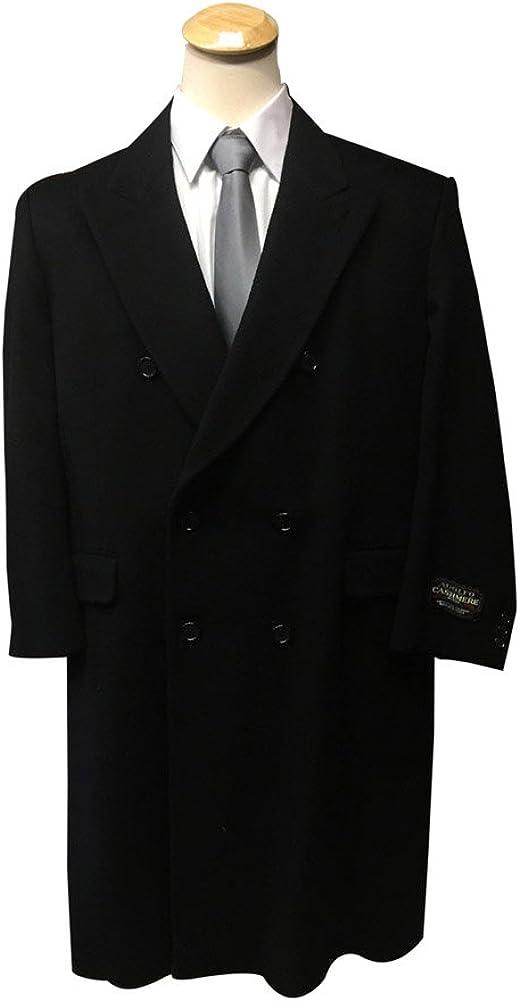 Adolfo Short Wool Cashmere Blend Big and Tall Black Top Coat Overcoat