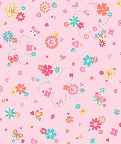 Dandino Motif Papier de Fleurs, cœurs et Papillons, Rose