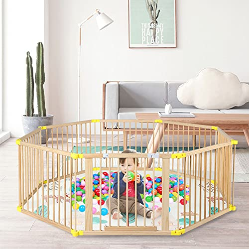 B BAIJIAWEI Foldable Baby Playpen 8 Panels Play Center Yard Home Indoor Outdoor Baby Fence Kids Safety Activity Center Safety Play Yard for Infants and Toddler (8 - Panel)