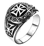 Inception Pro Infinite Crcmlt - Anillo Medieval maltés de la Cruz de los templarios - Idea de Regalo (ES 16)