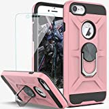YmhxcY iPhone SE 2020 Case iPhone 6 Case iPhone 7 Case with HD Screen Protector,360 Degree Rotating Ring Kickstand Holder Dual Layers of Shockproof Phone Case for iPhone 8-ZS Rose Gold