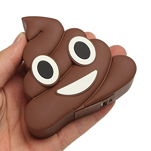 DISOK Power Bank Caca Emoji Emoticono 1200 mha en Caja de Regalo con Cable...