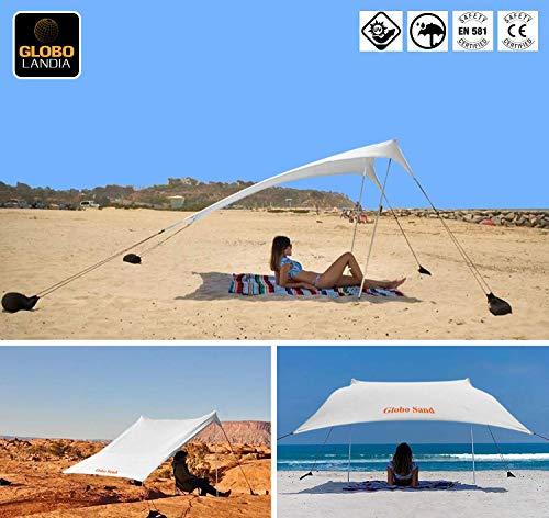 GLOBOLANDIA SRL Tenda da Spiaggia 95118B Tents Globo Sand 2.7m x 2.4m con Ancoraggio a Sabbia, Parasole Portatile Tende con Ancoraggio a Sabbia Tettuccio Parasole