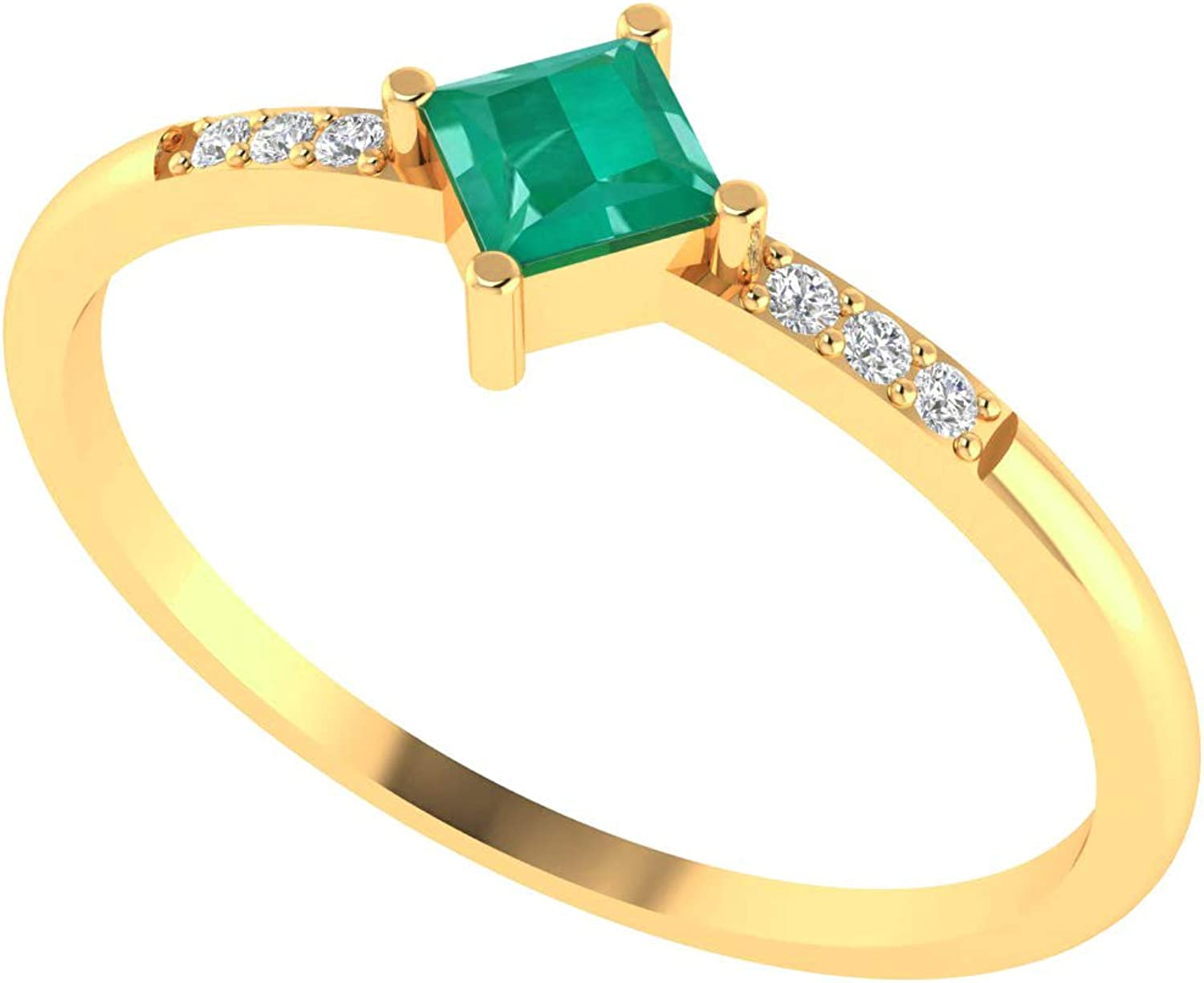 ASHNE JEWELS IGI Certified, Natural 0.15ct Emerald Gemstone Solitaire Band Ring Certified Diamond Fine Jewelry Made in 14K Solid Yellow Gold Fine Jewelry For Women and Girls