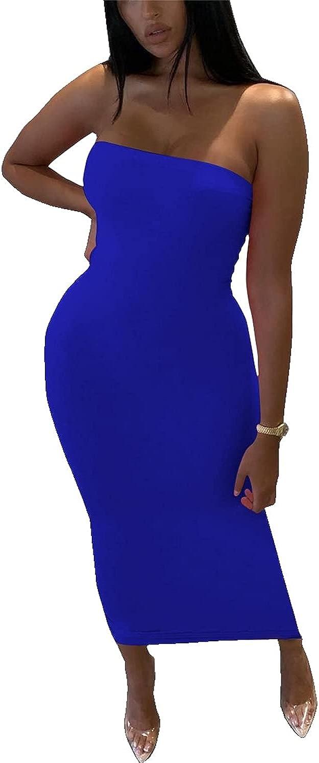 PRIMODA Women's Sexy Sleeveless Bodycon Tube Top Maxi Long Dress Club Night Out Party Dress