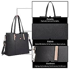 Miss Lulu Women Fashion Handbag Shoulder Bag Purse Faux Leather Tote 3 Piece (Black) #4