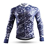 NEENCA - Maillot de ciclismo para hombre de manga larga con 3 bolsillos traseros, transpirable y de secado rápido - Gris - X-Large