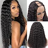 U Part Wigs Deep Curly Human Hair Wigs for Black Women Brazilian Deep Curly Human Hair wigs Glueless Full Head Clip in Half Wig U Shape Wig 150% Density Natural Color