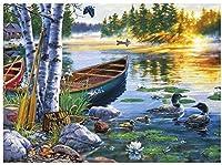初心者向けDIY5Dダイヤモンドペインティングキット、湖のボートアヒルと睡蓮、刺繡クロスステッチ家の壁の装飾親子おもちゃ楽しいギフト