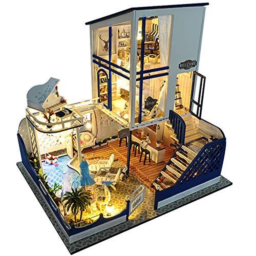 AMOUSTORE Häuser für Minipuppen/DIY Miniatur Loft Puppenhaus mit Led-leuchten Staubschutz Spieluhr/Geschenk für Valentinstag, Kindertag, Weihnachten, Hochzeit, Geburtstag (as Shown)