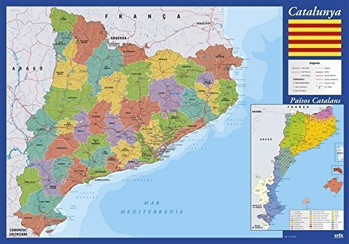 Vade mapa Cataluña - Tapete escritorio, Vade escolar multif