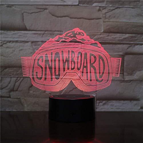 Nachtlampje ski/snowboard USB 3D LED nachtlampje skiën decoratieve lichten jongens kind kinderen baby geschenken skibril tafellamp nacht neon