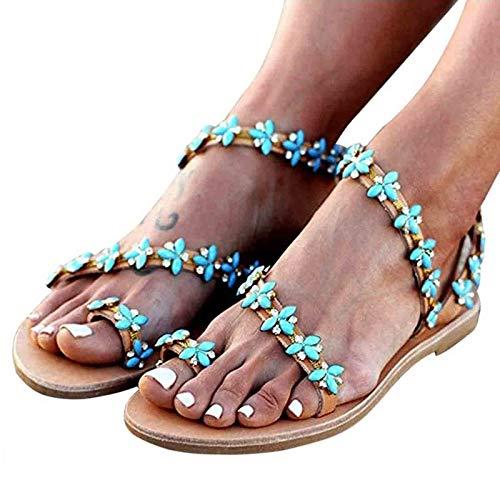 YFWJD Sandalias Planas Mujer Bohemia Vintage Toe Ring Sandalias de Gladiador Zapatos de Playa Romanos Chanclas con Punta de Clip Tanga para corrección de Hallux Valgus,Azul,37