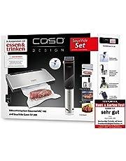 CASO SousVide Set Yemek & İçme - CASO GourmetVac 180 & CASO Sous Vide Garer SV300, gıdalar 8 kat daha uzun süre taze ve su geçirmez SousVide Stick - 90°C'ye kadar 0,5 °C adımlarla