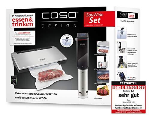 CASO SousVide Set Essen & Trinken - bestehend aus CASO GourmetVac 180 & CASO Sous Vide Garer SV300, Lebensmittel bis zu 8x länger frisch, wasserfester SousVide Stick - bis 90°C in 0.5 °C Schritten