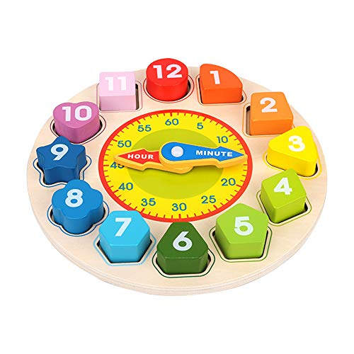 Wooden Learning Toy for 1 2 3 Year Old Toddlers Kids, Montessori Puzzle Toys for 12-36 Months Baby Boys Girls Birthday Gift for Toddler Kids Age 2-4 Educational Teaching Time Number Shape Sorting Toy