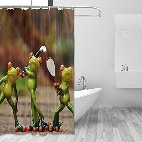 FANTAZIO Duschvorhang, lustige Frösche, Sport, Polyester, mit dicken C-förmigen Haken, für Badezimmer, wasserdicht, langlebig & superwasserdicht, 167,6 x 182,9 cm