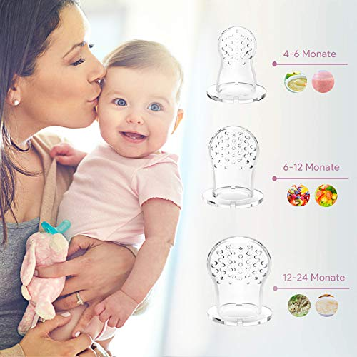 Oladwolf Fruchtsauger für Baby & Kleinkind, Silikon Schätzchen Schnuller für Obst und Gemüse Brei Beikost, BPA frei, 5PCS Professionelles Baby-Beißring Sauger in 3 Größen - 4