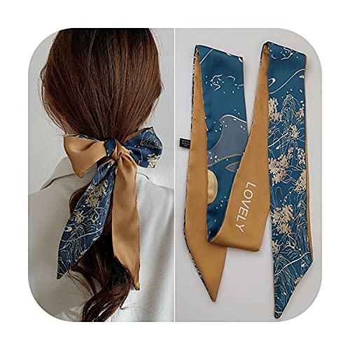 Ribbons Moda perro letras bandas para el pelo para las mujeres bufanda de seda lazos para el pelo niñas diademas trenza cinta bolsa vendaje pelo Accessary-azul amarillo