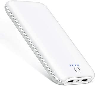 モバイルバッテリー 大容量 24000mAh スマホ 充電器 2台同時充電 残量表示 薄型 2USB出力ポート(2.1A+2.1A) iPhone/iPad/Android対応 急速充電器 PSE認証済 出張/旅行/災害/地震/アウトドア活動に最適 (ホワイト)