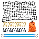AxPower Bungee Cargo Net 4' x 6' Stretchable to 8' x 12' for Pickup Truck Bed Trailer Luggage Net Heavy Duty Tie-Down Mesh with 12 Pcs Hooks and Metal Carabiner Clips