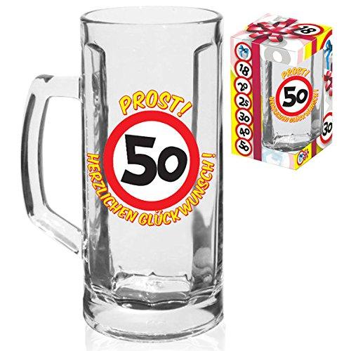 KMC Austria Design Bierglas Bierhumpen 0,5Liter zum 50.Geburtstag mit Verkehrsschild 50 - Prost und Herzlichen Glückwunsch im Geschenkskarton